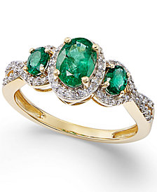 Emerald (1 ct. t.w.) & Diamond (1/4 ct. t.w.) 3-Stone Ring in 14k Gold (Also in Tanzanite)