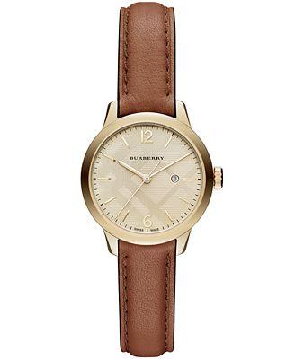 Burberry Women's Swiss Tan Leather Strap Timepiece 32mm BU10101