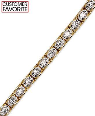 Diamond Bracelet in 14k White or Yellow Gold 1 ct t w