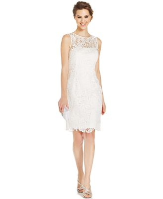 Adrianna Papell Illusion Lace Sheath Dress - Dresses - Women - Macy's