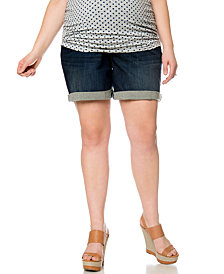 Motherhood Maternity Plus-Size Bermuda Jean Shorts, Dark Wash