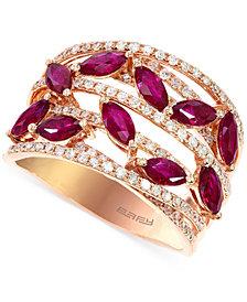 EFFY Ruby (1-1/2 c.t. t.w.) and Diamond (1/2 c.t. t.w.) Ring in 14k Rose Gold