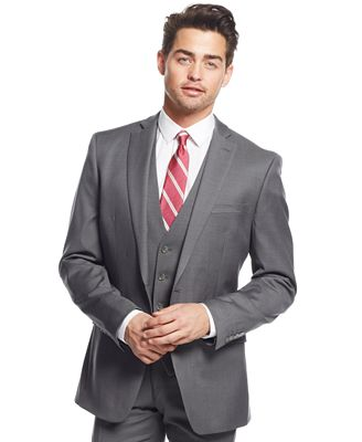 Bar III Mid-Grey Pindot Slim-Fit Jacket - Suits & Suit Separates ...