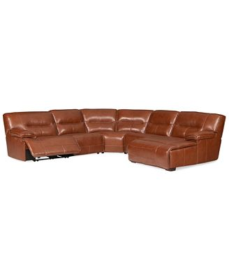 Contemporary Furniture CLOSEOUT Beckett 5 pc Leather Sectional Sofa with Chaise and 1 Power Recliner Created for Macy s Furniture Macy s Photo - Style Of Sofa with Chaise and Recliner Trending