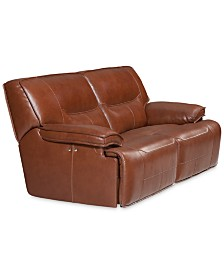 "CLOSEOUT! Beckett 88"" 2-pc Leather Sectional Sofa with 2 Power Recliners, Created for Macy's"