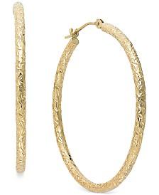 Diamond-Cut Hoop Earrings in 14k Gold, 1 1/3 inch