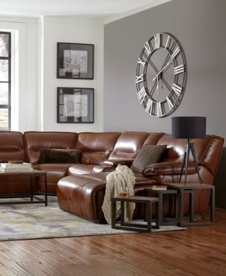 furniture closeout beckett 6 pc leather sectional sofa with console rh macys com