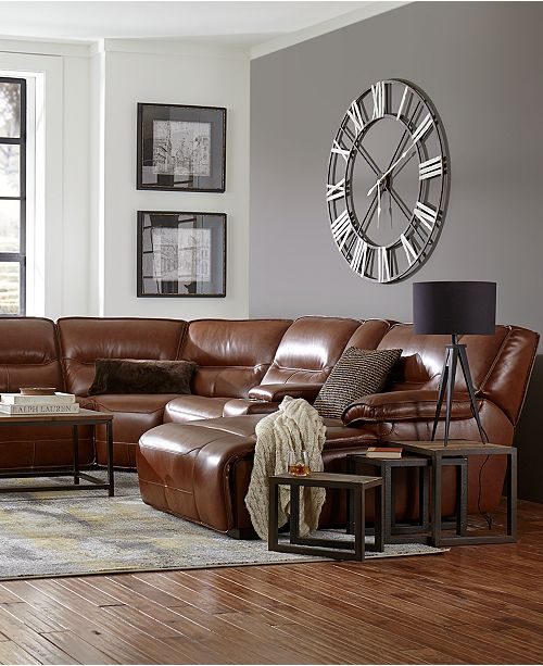 Leather Sectional Sofa With 3 Power Recliners: Furniture CLOSEOUT! Beckett 6-pc Leather Sectional Sofa