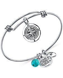 Journey Compass Charm and Manufactured Turquoise (8mm) Adjustable Bangle Bracelet in Stainless Steel with Silver Plated Charms
