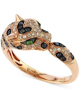EFFY Diamond 1 2 ct t w and Emerald Accent Panther Ring in 14k