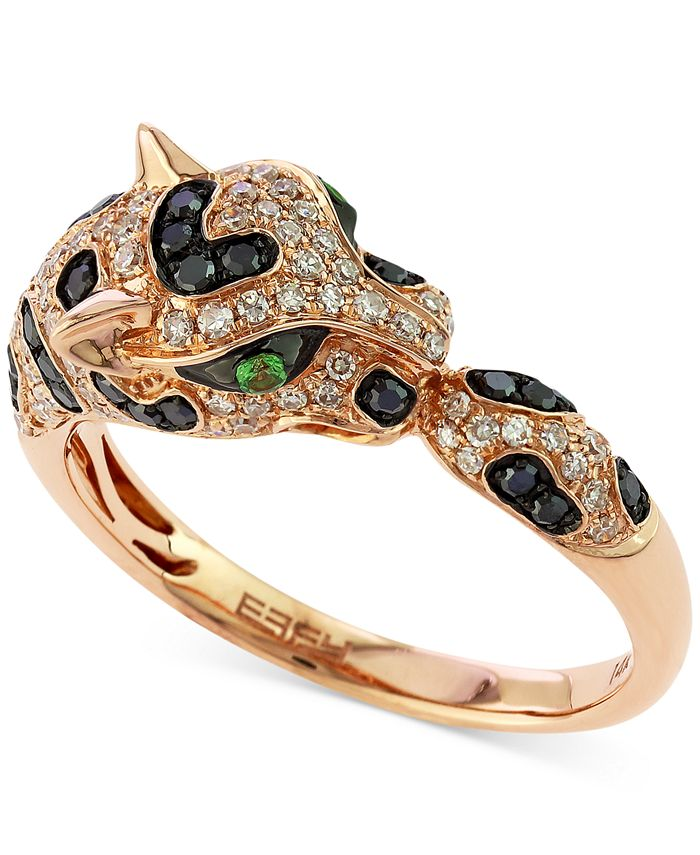 EFFY Collection - Diamond (1/2 ct. t.w.) and Emerald Accent Panther Ring in 14k Rose Gold