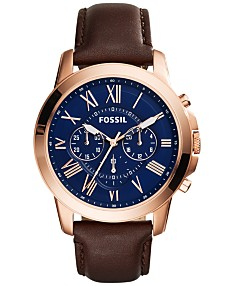 517f340c6db10 Fossil Men's Chronograph Grant Brown Leather Strap Watch 44mm FS5068