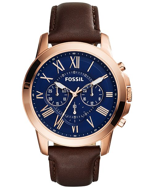 Fossil Men's Chronograph Grant Brown Leather Strap Watch 44mm FS5068