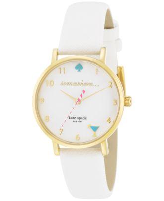kate spade new york Women's Metro White Leather Strap Watch 34mm 1YRU0765