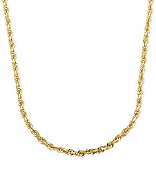 "Rope Chain 24"" Necklace (3mm) in Solid 14k Gold"