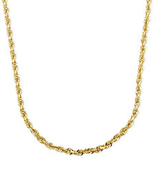 "Rope Chain 24"" Necklace in Solid 14k Gold"