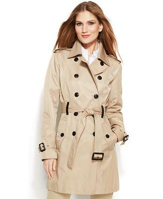 Michael Michael Kors Faux Leather Trim Trench Coat Coats