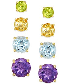 Multi-Stone Stud Earring Set in 18k Gold over Sterling Silver (5-9/10 ct. t.w.)