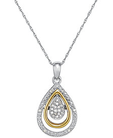 Diamond Teardrop Pendant in 14k Gold and Sterling Silver (1/10 ct. t.w.)