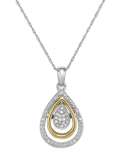 Diamond teardrop pendant in 14k gold and sterling silver 110 ct diamond teardrop pendant in 14k gold and sterling silver 110 ct tw mozeypictures Gallery