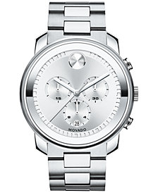 Movado Men's Swiss Chronograph BOLD Stainless Steel Bracelet Watch 44mm 3600276