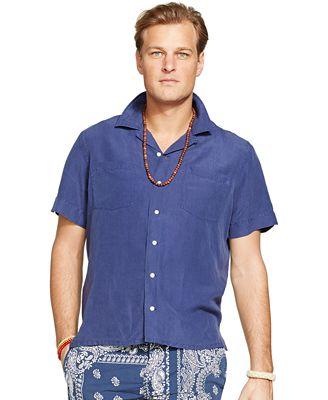 Polo ralph lauren big and tall linen silk camp shirt for Polo ralph lauren casual button down shirts