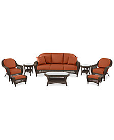 Monterey Outdoor Wicker 8-Pc. Seating Set (1 Sofa, 2 Club Chair, 2 Ottomans, 2 End Tables & 1 Coffee Table) with Custom Sunbrella®,  Created for Macy's