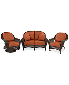 Monterey Outdoor Wicker 3-Pc. Seating Set (1 Loveseat, 1 Swivel Chair, & 1 Club Chair) with Custom Sunbrella®,  Created for Macy's