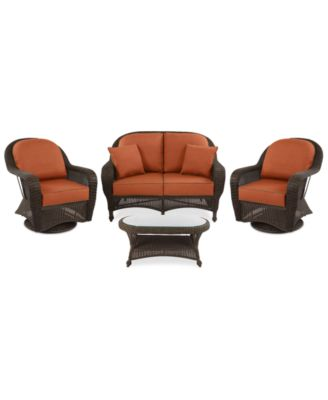 Monterey Outdoor Wicker 4 Pc. Seating Set (1 Loveseat, 2 Swivel Chairs