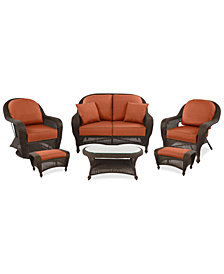 Monterey Outdoor Wicker 6-Pc. Seating Set (1 Loveseat, 1 Club Chair, 1 Swivel Chair, 2 Ottomans & 1 Coffee Table) with Custom Sunbrella®, Created for Macy's