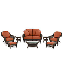Monterey Outdoor Wicker 8-Pc. Seating Set (1 Loveseat, 2 Club Chairs, 2 Ottomans, 2 End Tables & 1 Coffee Table) with Custom Sunbrella®,  Created for Macy's