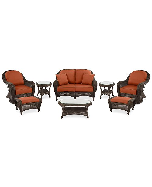 Awe Inspiring Monterey Outdoor Wicker 8 Pc Seating Set 1 Loveseat 2 Swivel Chairs 2 Ottomans 2 End Tables 1 Coffee Table With Custom Sunbrella Created For Pabps2019 Chair Design Images Pabps2019Com