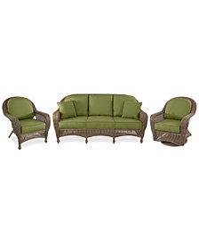Sandy Cove Outdoor Wicker 3-Pc. Seating Set (1 Sofa, 1 Club Chair and 1 Swivel Glider) Custom Sunbrella®, Created for Macy's