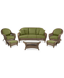 Sandy Cove Outdoor Wicker 6-Pc. Seating Set (1 Sofa, 1 Club Chair, 1 Swivel Glider, 2 Ottomans and 1 Coffee Table)Custom Sunbrella®, Created for Macy's
