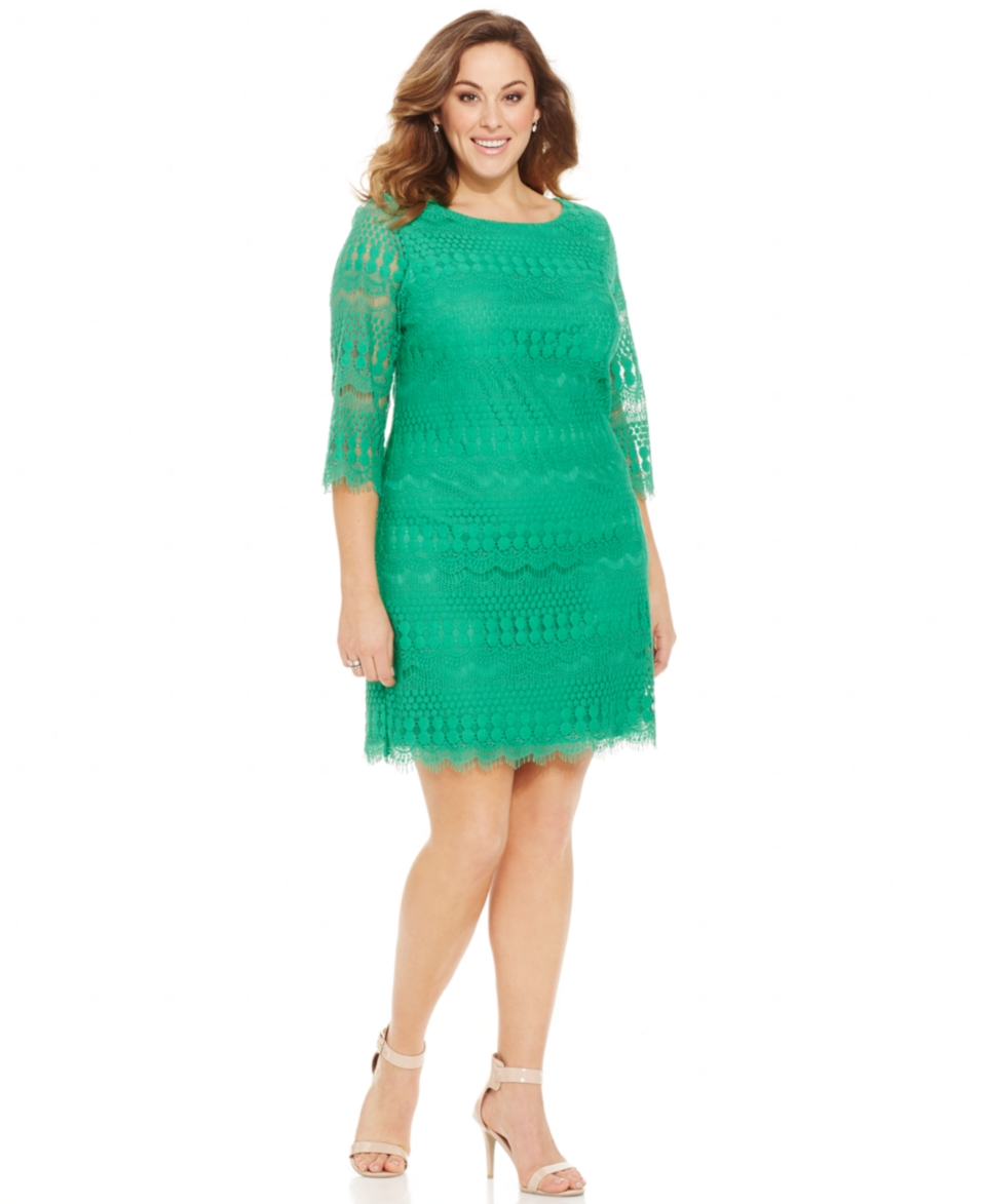 Jessica Howard Plus Size Three Quarter Sleeve Lace Shift Dress