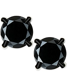 Men's Black Diamond stud Earrings in Stainless Steel (2 ct. t.w.)