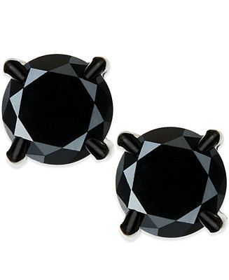 Macy S Men S Black Diamond Stud Earrings In Stainless
