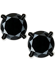 plated black gold mens for earrings rhodium diamond stud solitaire ctw men solid