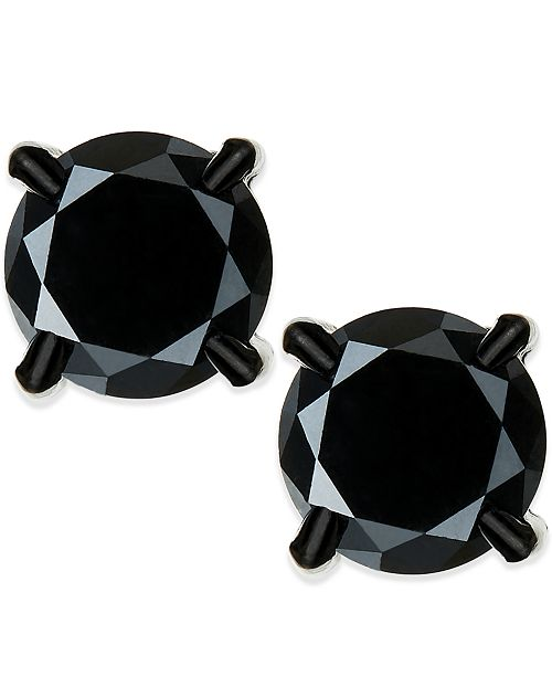 in gold stud ctw qp jewellers black diamond earrings m