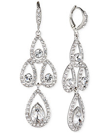 Givenchy Silver-Tone Crystal Pear Open Chandelier Earrings