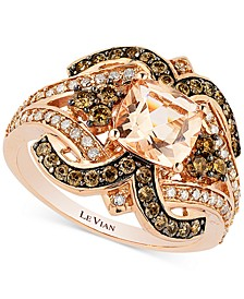Chocolatier® Peach Morganite (1 ct. t.w.) and Diamond (3/4 ct. t.w.) Ring in 14k Rose Gold