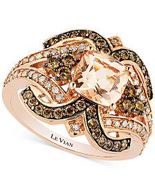 Le Vian Chocolatier® Peach Morganite (1 ct. t.w.) and Diamond (3/4 ct. t.w.) Ring in 14k Rose Gold
