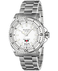 Gucci Unisex Swiss Dive Stainless Steel Bracelet Watch 41mm YA136302