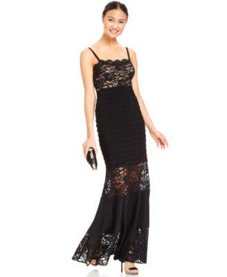Turmec » xscape plus size dress cap-sleeve lace ruffle gown