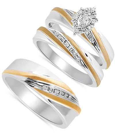 Beautiful Beginnings Diamond Accent Engagement Ring Set for Her and Band for Him in Sterling Silver and 14k Gold