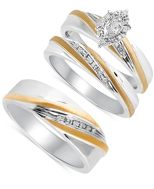 These Glamorous Diamond Accent Rings From Beautiful Beginnings Are Crafted In Sleek Sterling Silver And Highlighted With Bands Of 14k Gold