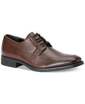 Calvin Klein Men's Elroy Moc-Toe Brown Leather Oxford