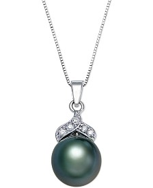 Tahitian Pearl (9mm) and Diamond Accent Pendant Necklace in 14k White Gold