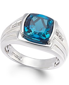 Men's Blue Topaz (5 ct. t.w.) and Diamond Accent Ring in Sterling Silver