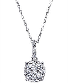Diamond Circle Pendant Necklace in 14k White Gold (1/4 ct. t.w.)